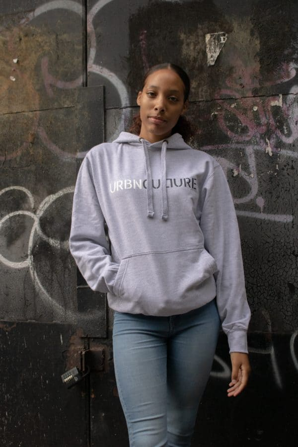 Urbnculture hoodie with white and grey text