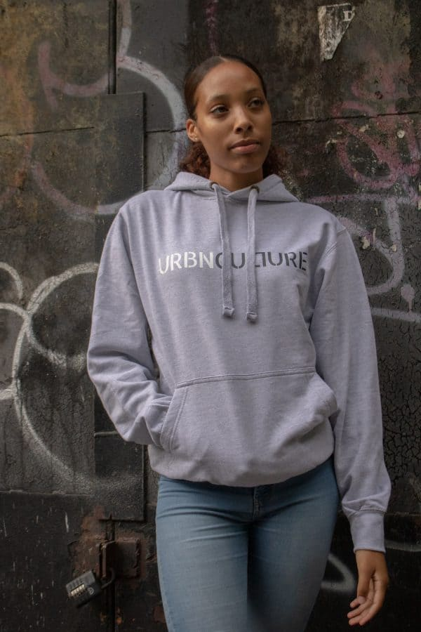 Urbnculture hoodie with white and grey text - close up