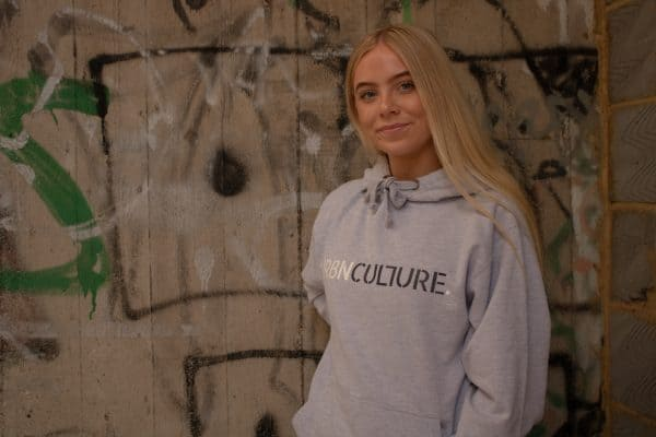 Urbnculture hoodie with white and dark grey text