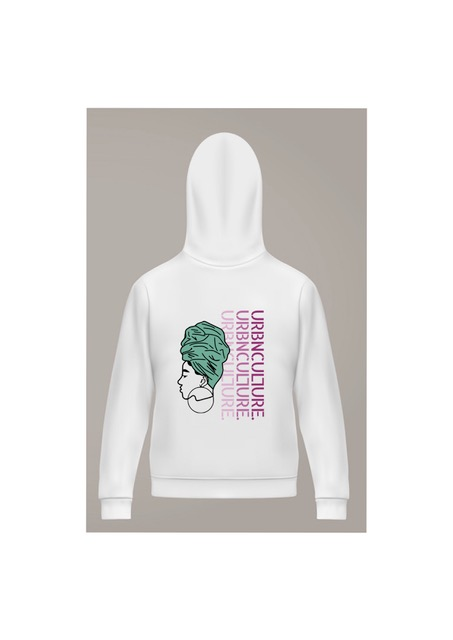 headwrap graphic and urbnculture logo on white hoodie