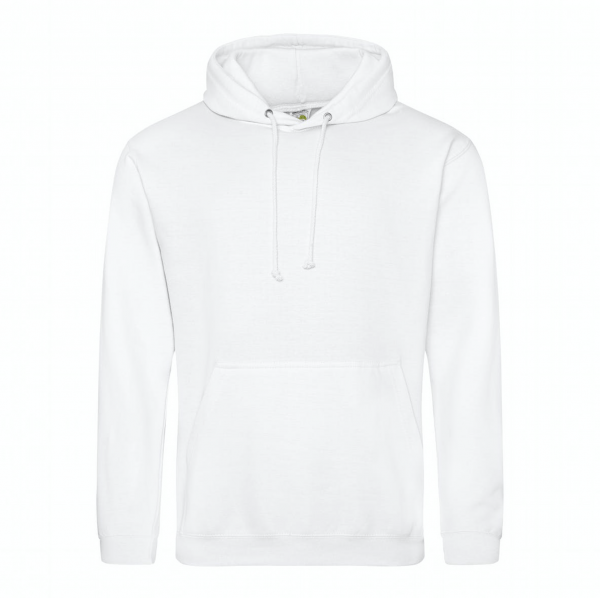 white hoodie with head-wrap graphic on back