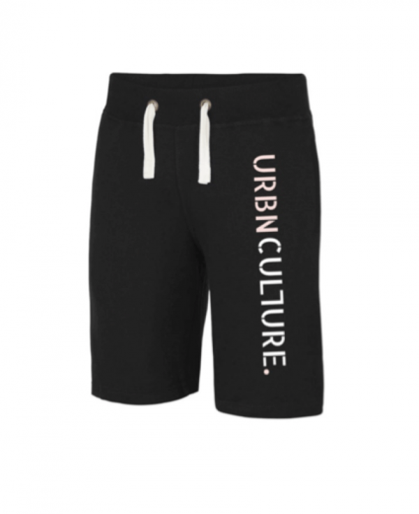 urbnculture jet black shorts with pink and white text