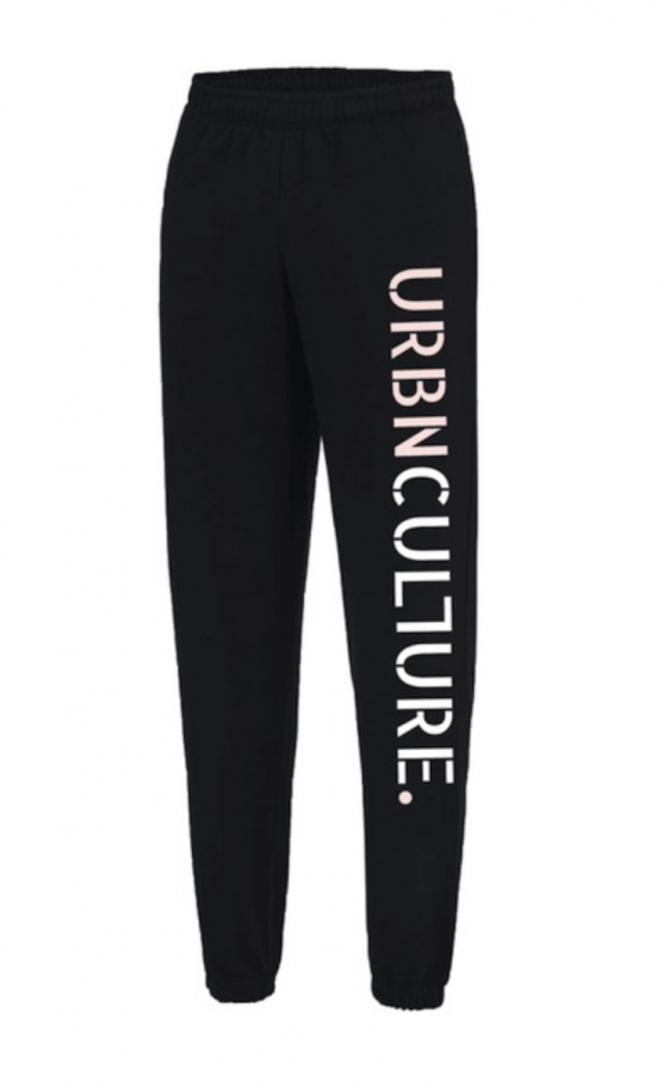 black urbnculture joggers with pink and white logo